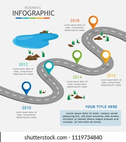 Infographic template for business with steps. Road journey and obstacle concept, Roadmap process diagram. Vector infographic.