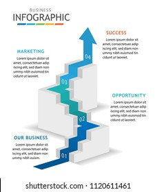 Infographic template for business with steps. Step up and overcome obstacle concept, Roadmap process diagram. Vector infographic.