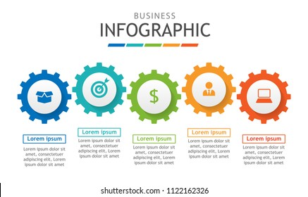 Infographic template for business. Timeline chart diagram with steps, minimal abstract elements. Vector infographic for presentation.
