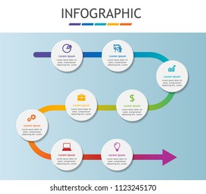 Infographic template for business. Timeline chart diagram with steps, abstract elements. Vector infographic for presentation.