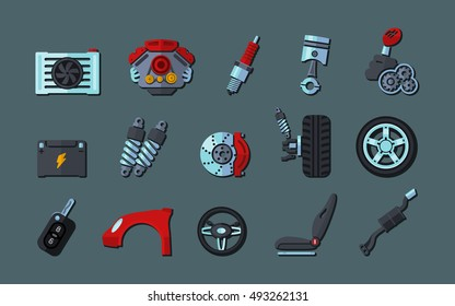 infographic template with car parts icons, service and repair concept