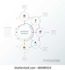 Infographic template, circle design with arrows sign and 5 options or steps. Can be used for business, infograph template, process infographics, diagram chart, flowchart, processes diagram, time line