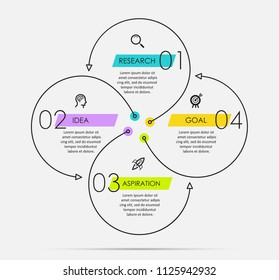 Infographic template with circular arrows. Can be used for cycling diagram, graph, presentation and round chart. Business concept with 4 options, parts, steps or processes.