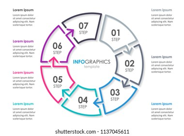 Infographic template with circular arrows. Can be used for cycling diagram, graph, presentation and round chart. Business concept with 7 options, parts, steps or processes.