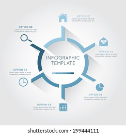 Infographic template circular  with six option and placement text on the white background.