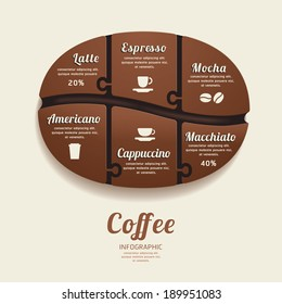 Infographic Template with Coffee Bean Jigsaw banner . concept vector illustration