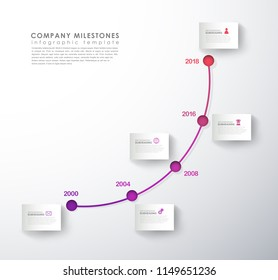 Infographic template with colorful icons line up beside timeline.