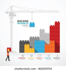 Infographic Template with crane building blocks. concept vector illustration
