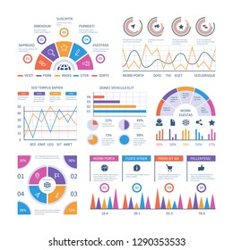Infographic template. Dashboard, bar finance graphs, pie chart and line diagrams. Analytical vector infographics
