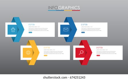 Info-graphic Template diagram with 4 steps multi-Color design, Business layout template, labels design, Vector info-graphic element, Flat style vector illustration EPS 10.