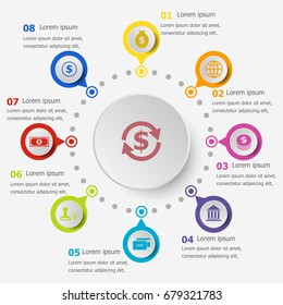 Infographic template with finance icons, stock vector