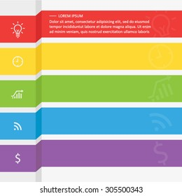 infographic template with five colored ribbons