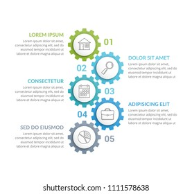 Infographic template with five gears with line icons, vector eps10 illustration