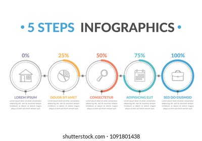 Infographic template with five round progress indicators, workflow, process chart, vector eps10 illustration