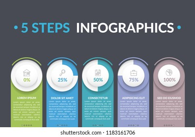 Infographic template with five round progress indicators, five steps infographics, workflow, process chart, vector eps10 illustration