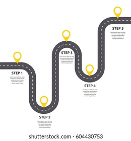 Infographic template. Five steps Winding asphalt road with pin-pointers. Vector EPS 10