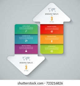 Infographic template in the form of arrows pointing up and down. Business concept with 3 steps, options. Can be used for workflow layout, diagram, chart, graph, web design. Vector illustration