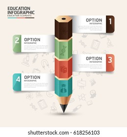 Infographic template in the form of a pencil with 4 options, steps, parts. Vector banner for business or educational infographics / can be used for infographics / numbered banners