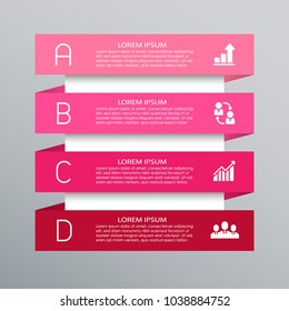 Infographic template with four abcd steps or options, process diagram