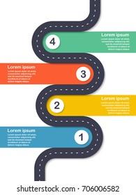 Infographic template. Four steps asphalt road diagram. Vector EPS 10