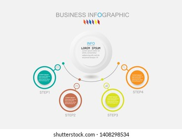 Infographic template with four steps or options process diagram, vector eps10 illustration