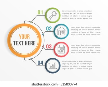 Infographic template with four steps or options, workflow, process diagram, vector eps10 illustration