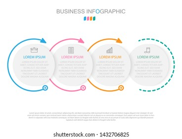Infographic template in four steps,Template for diagram, graph, presentation and chart.