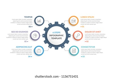 Infographic template with gear with six elements, steps or options, vector eps10 illustration