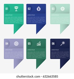 infographic template green and blue 6 options