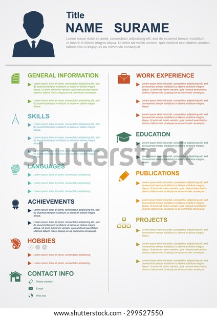 Infographic Template Icons Cv Personal Profile Stock Vector