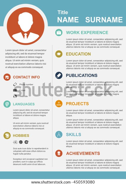 infographic template icons cv personal profile  u0e40 u0e27 u0e01 u0e40 u0e15 u0e2d u0e23 u0e4c