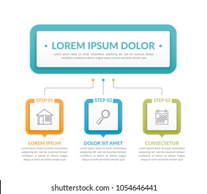 Infographic template with main idea and 3 steps or options, workflow, process chart, vector eps10 illustration