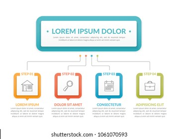 Infographic template with main idea and 4 steps or options, workflow, process chart, vector eps10 illustration