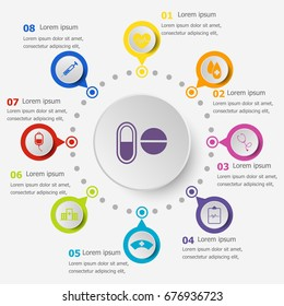 Infographic template with medical icons, stock vector