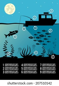 Infographic template of night  fishing black colors icons for poster or flyer vector illustration