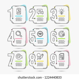 Infographic template with numbers 9 options. Set of Update time, Idea and Mobile finance icons. 24h delivery, Airplane and Tips signs. Comment, Research and Financial documents symbols. Vector