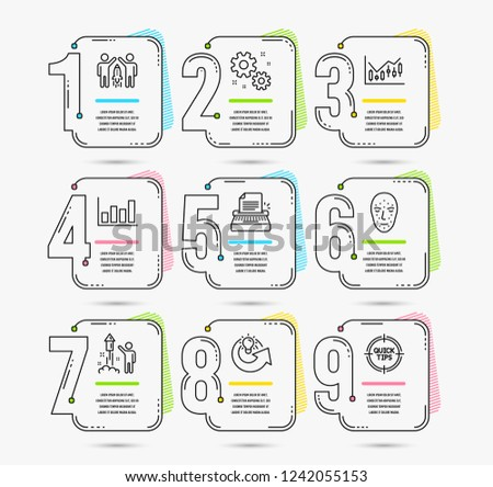 set of typewriter, work and face biometrics icons  financial diagram,  fireworks and report diagram signs  partnership, share idea and tips  symbols