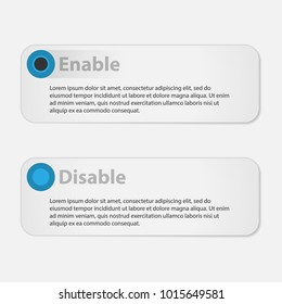 Infographic template. Options text. Enabled and disabled option. Vector template for text.