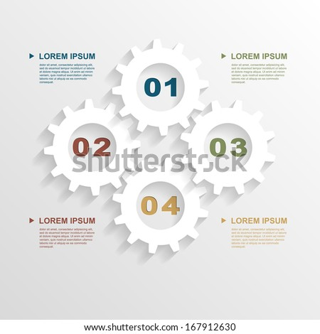 infographic template paper gears template business stock vector