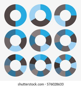 infographic template pie blue and black charts with 2, 3, 4, 5, 6, 7, 8, 9, 10 steps