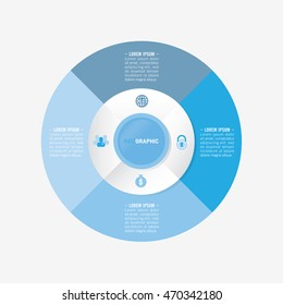 infographic template pie blue charts with 4 steps