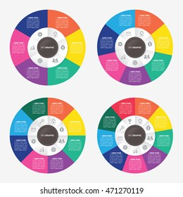 infographic template pie charts with 6, 7, 8, 9 steps