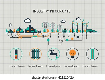 Infographic template.  The power supply of town by wind and sollar power stations.
