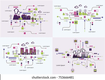 Infographic template. The power supply of town set of images.