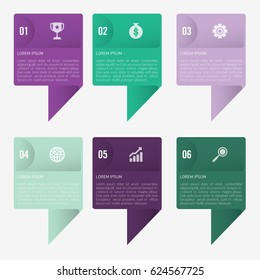 infographic template purple and green 6 options
