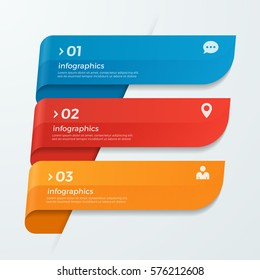 Infographic template with ribbons banners arrows 3 options for presentations, advertising, layouts, annual reports, web design.