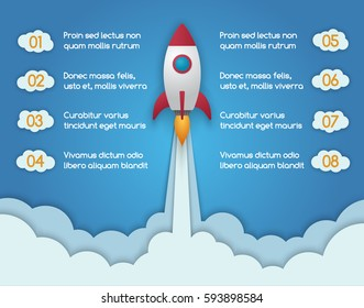 Infographic template of rocket or spaceship launches through the clouds. Start Up Concept. Can be used for web design and workflow layout. Vector design illustration.