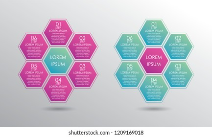 Infographic template set. Six steps honeycomb form diagram