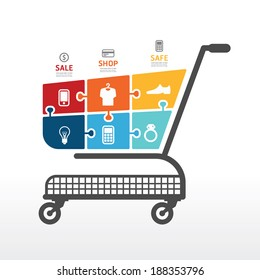 infographic Template with Shopping cart  jigsaw banner . concept vector illustration