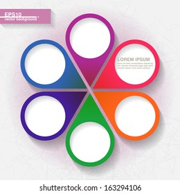 Infographic template with six colorful labels. Eps10
